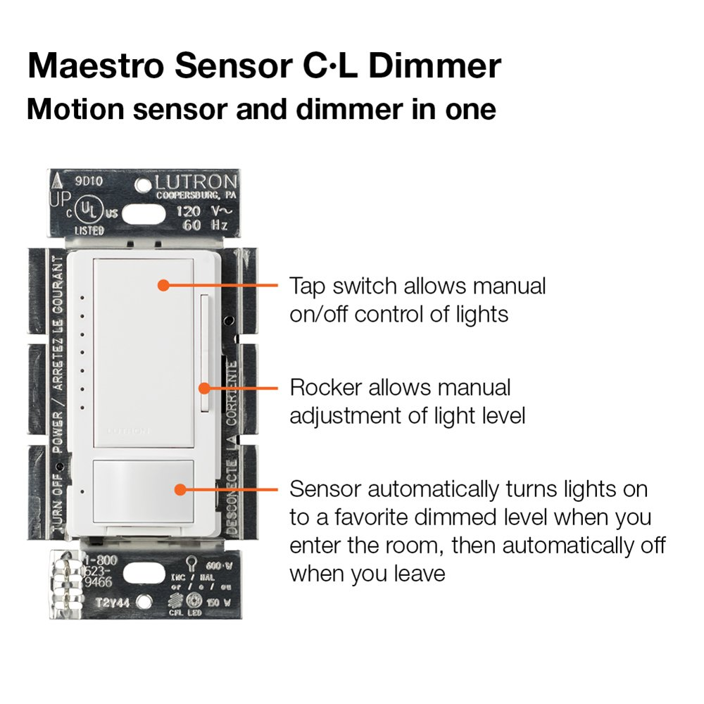 Lutron Maestro Cl Dimmer And Motion Sensor Single Pole Multi Viking C 1000b Wiring Diagram For Location Mscl Op153m Wh White Wall Light Switches