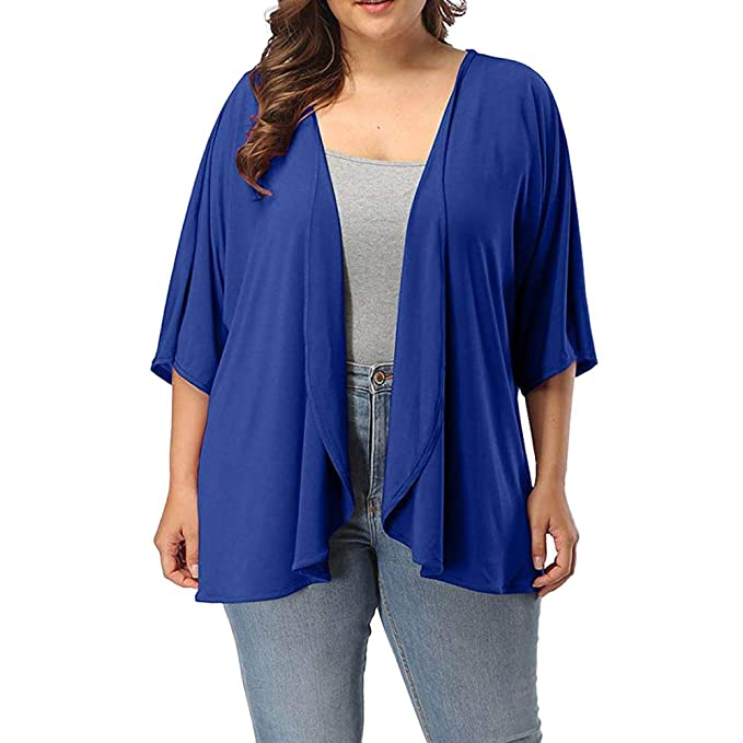 Womens Plus Size Summer Casual Open Front Half Sleeve ...