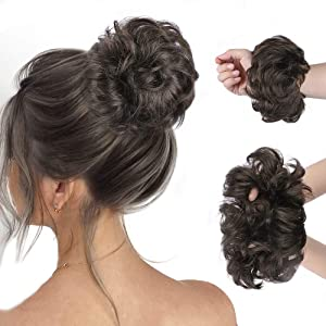 HMD 100% Human Hair Bun, Messy Bun Hair Piece 100% Human Hair Bun Extension Scrunchie Chignon Ponytail Extensions for Women/Kids Updo Donut Hairpiece.