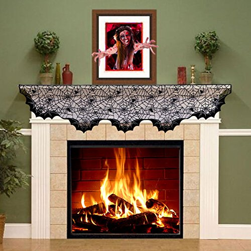 PartyTalk Halloween Decorations Black Lace Spider Web Fireplace Mantle Scarf Cover, Bats Fireplace Scarf Runner Home Festival Party Supplies, 20 x 80 Inch