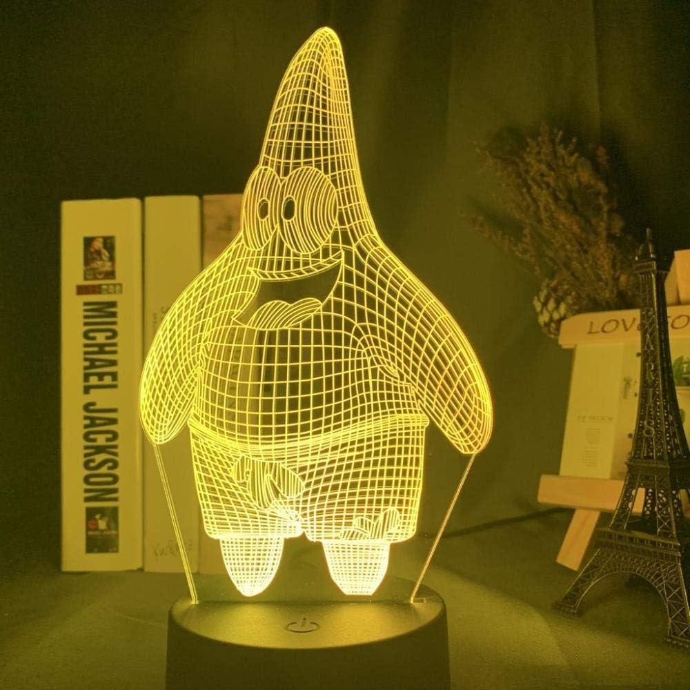 giyiohok Lámpara de ilusión 3D Luz de noche LED dibujos animados Bob Esponja Patrick Star Holograma Bebé Niño Dormitorio Regalo de noche para Navidad Niños Lámpara de sueño