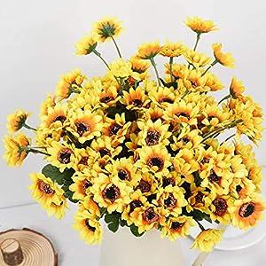DearHouse 6pcs Artificial Sunflowers Bouquet, Wedding Flower Bouquet Sunflower Yellow Sunflower Silk Flower Arrangement for Home Kitchen Floor Garden Wedding Decor 5