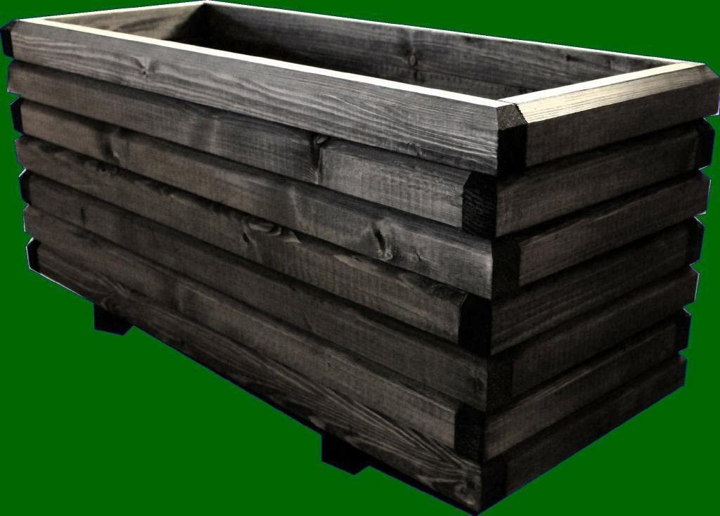 macizo Maceta de madera 100 x 40 x 48 cm 60 x 40 mm barnizado con ...