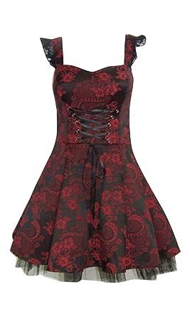 ef84fcc1471 Vintage Style Red Black Damask Brocade Effect Full Circle Mini Dress (08)