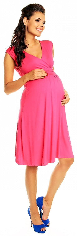 Zeta Ville Womens Maternity Breastfeeding Flattering Summer Skater Dress 256c