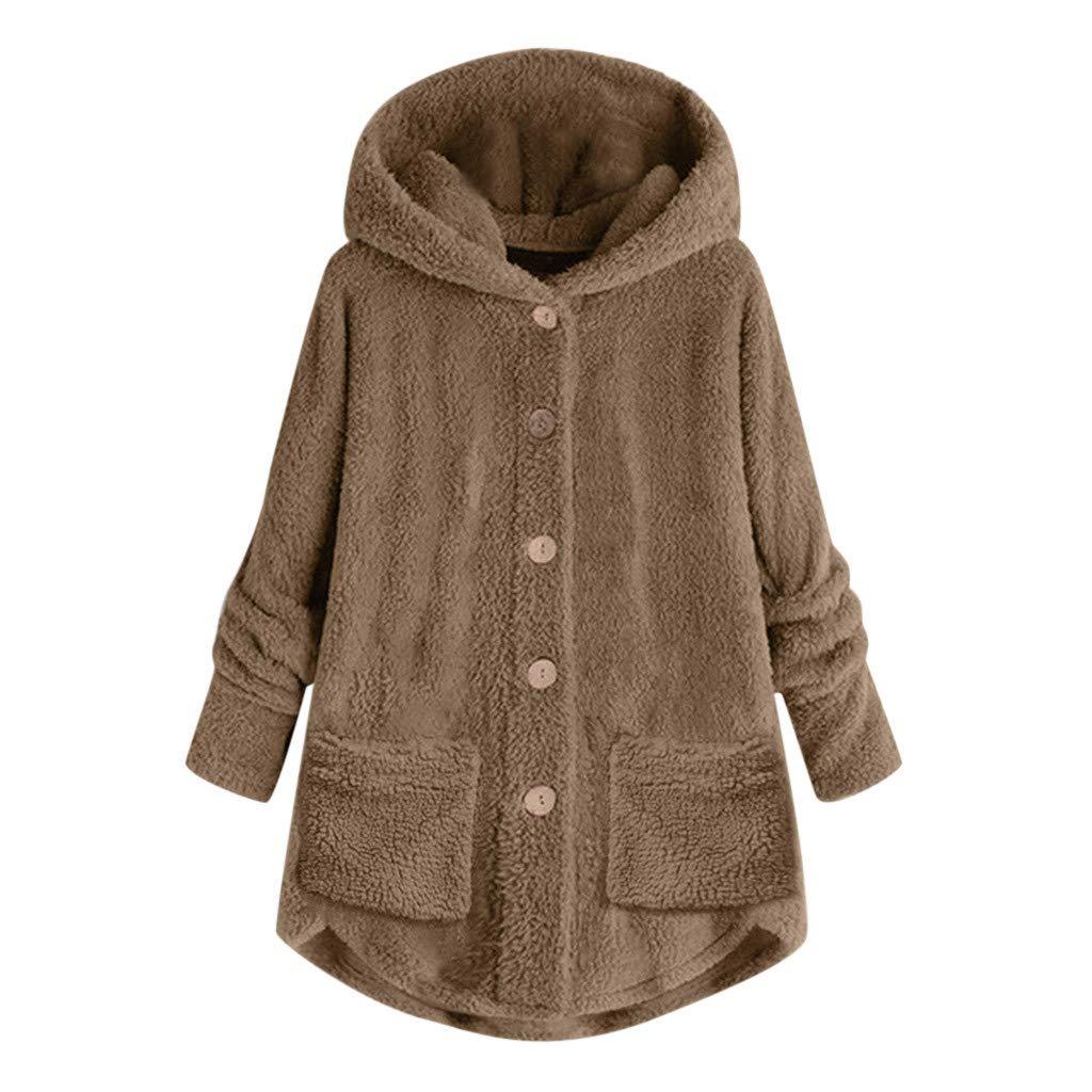 Women Plus Size Button Plush Long Coat Tops Loose Hooded Cardigan Wool Winter Warm Jacket Overcoat Pocket S-5XL (X-Large, Khaki) by Aritone