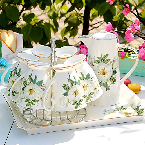 European Style, Ceramic Drinking Ware Kit/Household Use,Creative Water Cup Kit/Bulk Syrup Kettle-B