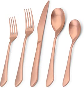 Matte Rose Gold Silverware Set, 20-Piece Stainless Steel Flatware Set, Kitchen Utensil Set Service for 4, Satin Finish Tableware Cutlery Set for Home and Restaurant, Dishwasher Safe