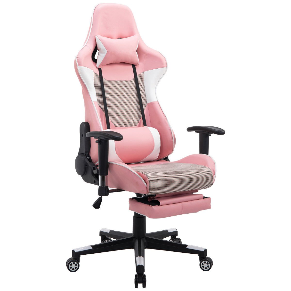 Giantex Gaming Chair Racing Chair Mesh High Back Reclining Lumbar Support, Headrest and Footrest Office Swivel Computer Task Desk Gaming Chair (Pink)