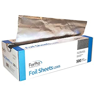 "ForPro Embossed Pop-Up-Foil Sheet, Aluminum Foil, Pop-Up Dispenser, for Hair Color Application and Highlighting, 12"" x 10.75"" 500-ct."