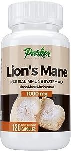 Premium Lion's Mane Mushroom Capsules by Parker Naturals Supports Immune System Health. Nature's Original Superfood. 120 Capsules