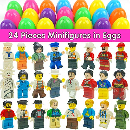MAXSASI 24 Pcs Easter Eggs Filled with Minifigure Toy Inside, Assortment of Building Bricks Community People Easter Party Favors Stocking Stuffers for Kids Building Blocks Educational Toy Gift