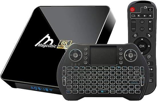 Android TV Box 10.0 4GB 32GB Amlogic S905X3 Decodificador Smart TV Box con teclado inalámbrico retroiluminado USB 3.0 ultra HD 4K 8K HDR WiFi 2.4GHz ...