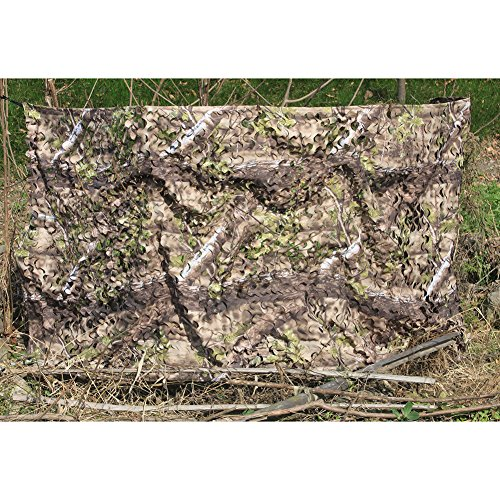AUSCAMOTEK 300D Woodland Camouflage Hunting Camo Netting Blind Good for Camping Military Shooting Natural Blind 3 Years Warranty(3ft x 10ft/1.5m x 3m)