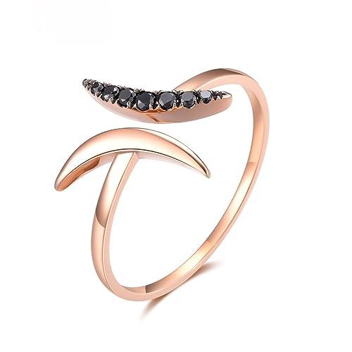 AmDxD Joyería 18k Oro Anillo de Boda para Mujer 2 Luna Negro Diamante Oro Rosa Anillo