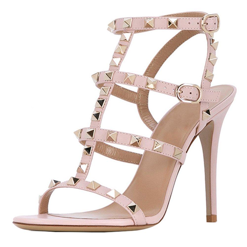 Pink(matte) VOCOSI Women's Ankle Strap High Heels Studded Strappy Stilettos Open Toe Dress Sandals