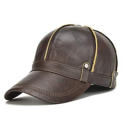 JDDRCASE Sombreros de Moda Gorras, Nuevo Invierno Engrosamiento Sombrero de Cuero de los Hombres Cuero