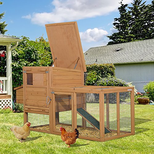 PawHut Wooden Chicken Coop Hen Small Animal House with Outdoor Run