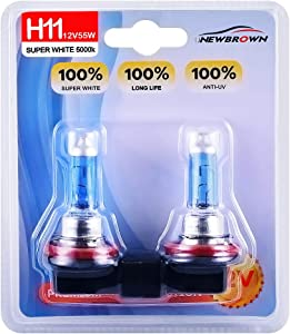 H11 Halogen Headlight Bulb with Super White Light PGJ19-2 12V/55W 5000K, 2 Pack,Long Life