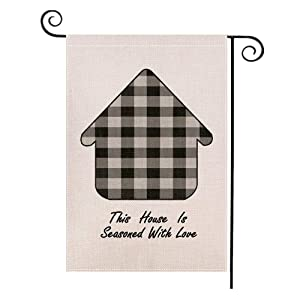Foxany Fall Plaid Home Garden Flag 12.5 x 19, Vertical Double Sided Burlap Sweet Home Garden Flags for Yard /Patio /Farmhouse /Outdoor Decoration 12.5 x 19 Inch