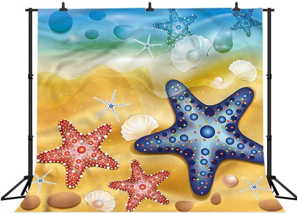 6x6FT Vinyl Wall Photography Backdrop,Ocean,Colorful Starfish Sandy Beach Photo Backdrop Baby Newborn Photo Studio Props