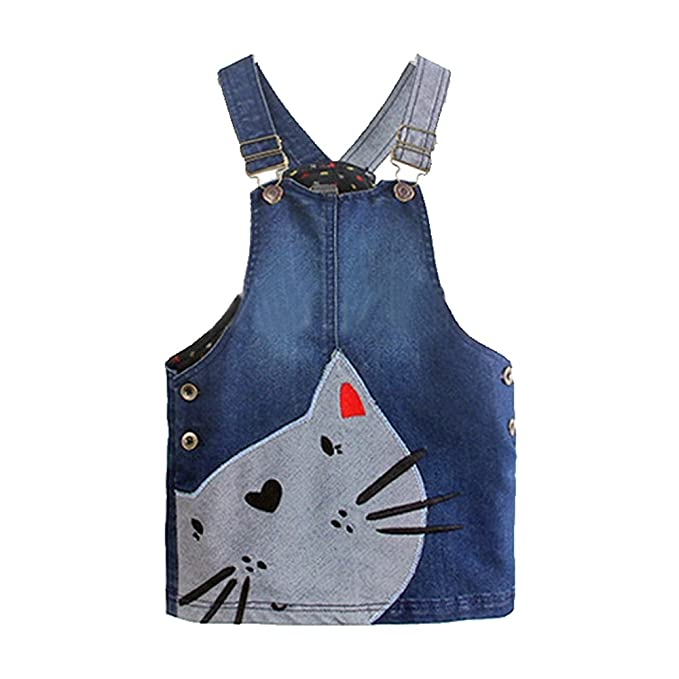 8960eb47f1d Lantusi Girls One-Piece Cat Jean Overall Denim Jumper Suspender Skirt  Pinafore Dress Age 2