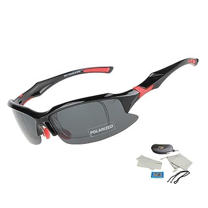 71744e5cb3 Kukaze EOC Polarized Cycling Glasses Outdoors Sports Sunglasses Casual  Running Goggles UV400 (Black Red)
