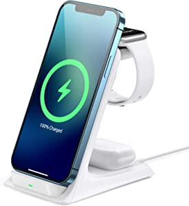 Wireless Charging Station 15W, AGPTEK 3 in 1 Wireless Charger Stand Fast Charging Dock for Apple Watch SE 6 5 4 3 2, Airpods Pro, iPhone 12/11/11 Pro/X/Xr/Xs/8 Plus, Qi-Certified Phones,White