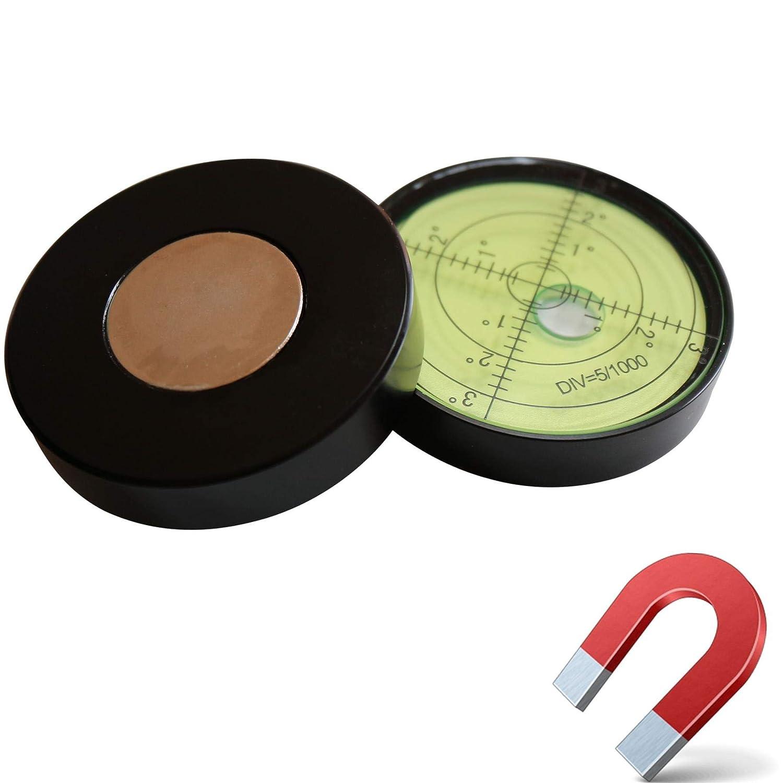 Bulls Eye Bullseye Fiole /à Niveau Rond 60mm de Diam/ètre Niveau de Surface Magn/étique Niveau /à Bulle d/'Air Large M/étallique Degr/és Verte//Noir Bo/îtier M/étallique