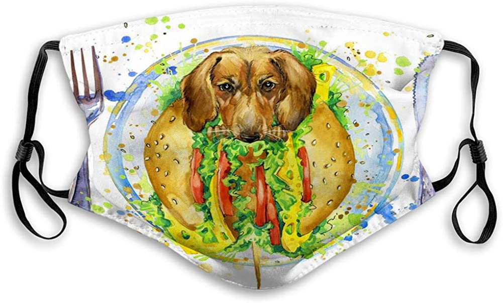 Anti-Dust Shield Adjustable Earloop funny hot dog fast food splash watercolor textured background sport Covers