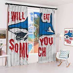 Shark Studio partition Living Room Curtain Grunge Artwork Eat You Quote for Living Room or Bedroom W52 x L95 Inch