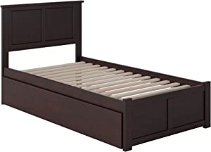 Atlantic Furniture Madison Platform Bed with Footboard and Turbo Charger with Twin Extra Long Trundle, XL, Espresso
