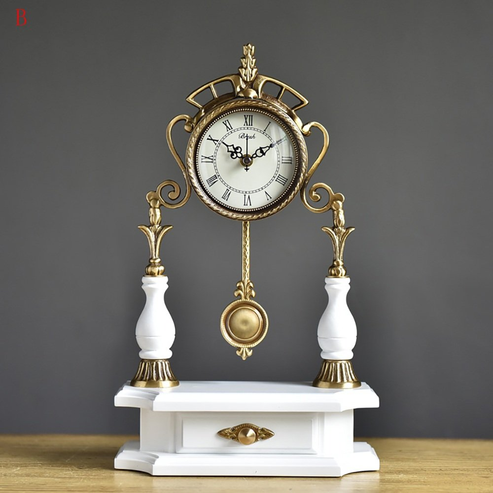 TOYM US European solid wood copper mute clock antique living room clocks ( Color : B ) by Table Clock