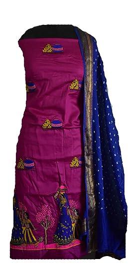 314c4d2f62 KATHIWALAS Women's Cotton Silk Kutch Work Bandhani/Bandhej ...