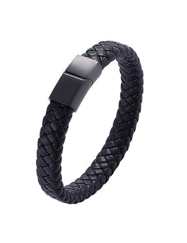 Tressé Bracelets Zljj Inoxydable Pour Hommes Acier Bracelet En Cuir 8ynPv0mNwO