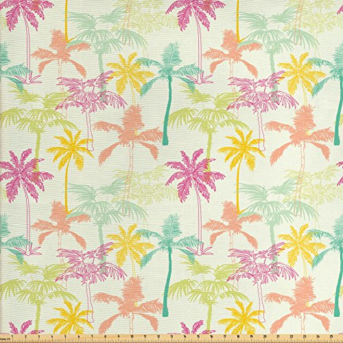 Ambesonne Palm Tree Fabric by the Yard, California Beach Inspiration with Hand Drawn Coconut Trees Colorful Silhouettes, Decorative Fabric for Upholstery and Home Accents, Multicolor Coconut Fabric
