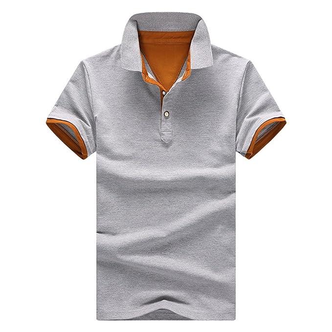 057644dbd1d9 Demarkt Herren Poloshirt Polohemd T-Shirts für Sport Freizeit und Arbeit  Grau und Orange 4XL  Amazon.de  Bekleidung