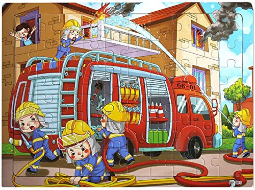 Layhome Puzzles 60 Pieces Durable Wooden Puzzle Children Fairy Story Animals Transportation Jigsaw (fire - Truck Toy Fire Story