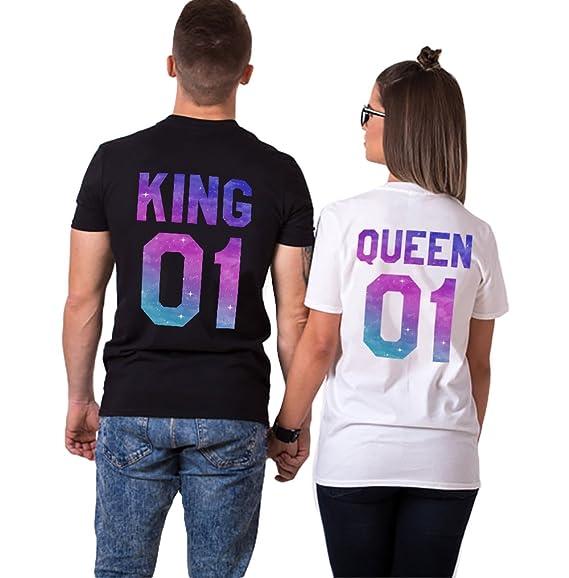 Pareja Camiseta King Queen 100% Algodón Shirt 2 Piezas Impresión Manga Corta T-Shirt Cuello Redondo para Mujer Hombre Regalo de San Valentín Couple: ...