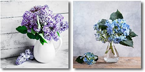 Canvas Wall Art Still Life With Blue Hortensia Flowers And Lilacs In Glass Vase Modern Home Art 2 Panel Canvas Prints Giclee Printing Ready To Hang 16 X16