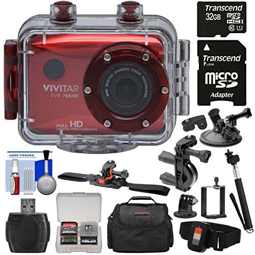 Vivitar DVR786HD 1080p HD Waterproof Action Video Camera Camcorder (Red) + Remote, Helmet, Bike & Suction Cup Mounts + 32GB Card + Case + Monopod Kit