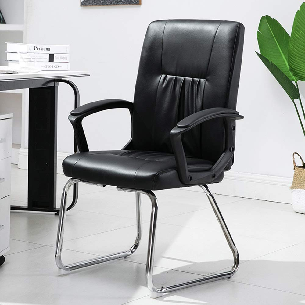 JIEER-C stol svängbar stol datorstol, ergonomisk design låg rygg kontorsstol rosett modern enkelhet hushåll spelstol för student sovsal kontor, off-white Svart