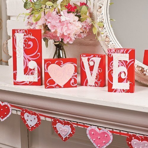 Love Blocks Wooden V-day Gift Table Top Decoration Home Accent Red Pink White Scrolls Heart Shape Design Romantic Sign L O V E Words Valentine's Day Decor (Original Version) -