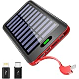 Portable Charger Power Bank VNOOKY 16000mAh Solar Charger with 3 Input Port(Type C & Lightning & Micro)and Built-in Micro Cable, One of the Slimmest and Lightest Flashlight External Battery Pack for iPhone, iPad, Samsung Galaxy & More (Black-Red)