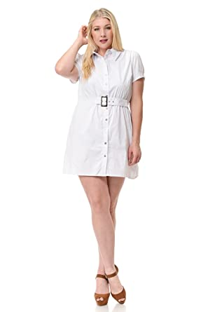 Clinamen Clothing Womens Plus Size Button Down Woven Collared Dress
