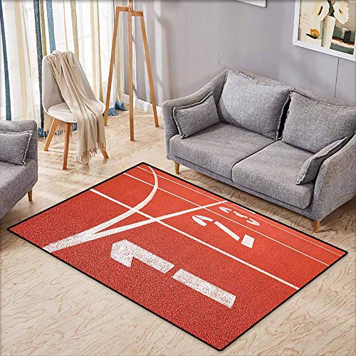 Atlanta Olympic Stadium - Inner Door Rug Olympics Decorations Collection Close Up of Numbers on Racetrack Lines Stadium Ground Determination Success Art Coral White Durable W5'9 xL4'9