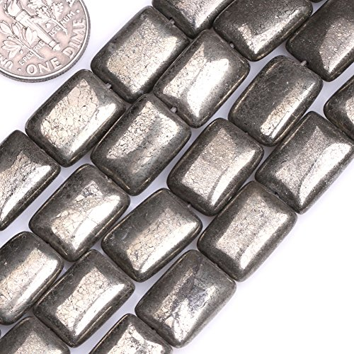 Rectangle Bead Necklace - GEM-inside Natural Pyrite Gemstone Loose Beads 10X14mm Rectangle Silver Gray For Bracelet Necklace Earrings Jewelry Making Crafts Design 15