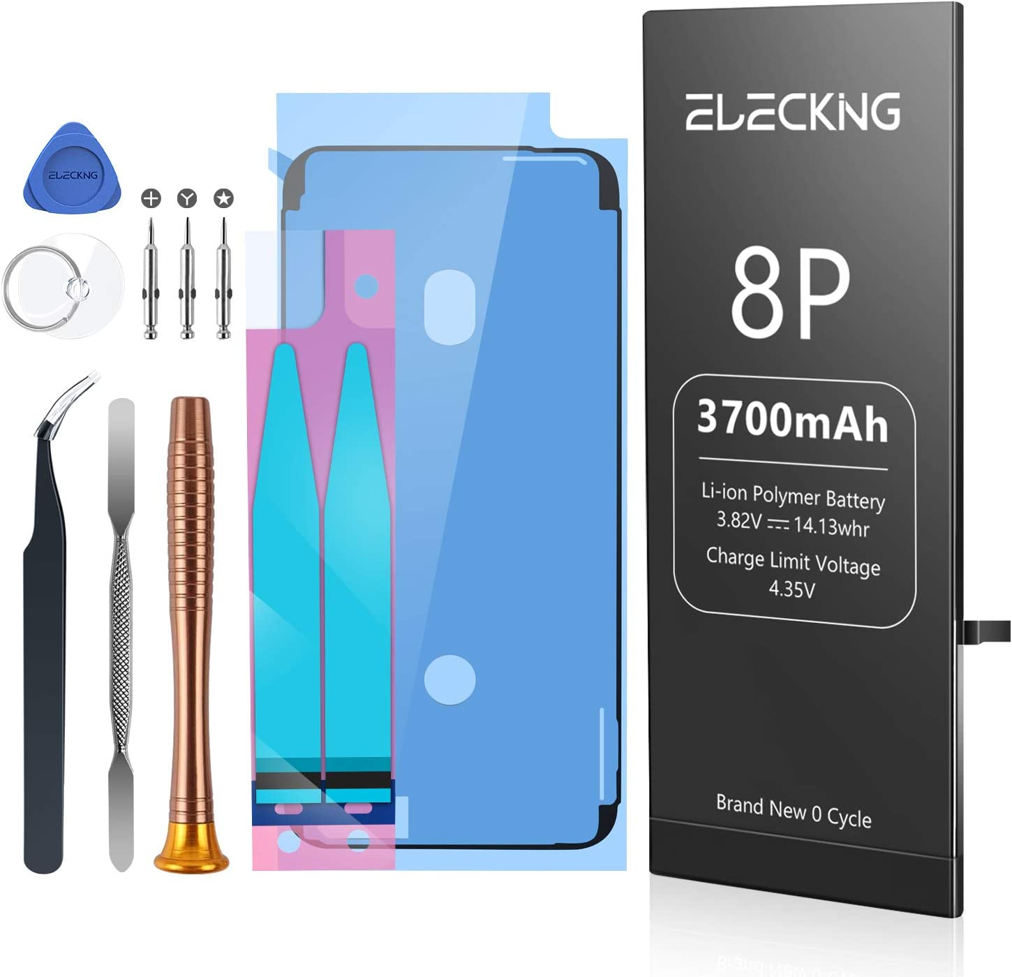 ELECKING 3700mAh Battery Replacement Compatible with iPhone 8 Plus, High Capacity Replacement Battery (for IP8P Only) with Professional Repair Tool Kits, Adhesive Strips and Instruction