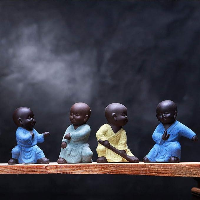 Pet Conjunto De 4 Mini Adornos De Buda Afortunado Sentado Decoración del Hogar Adornos De Jardín Interior O Exterior Figuras De Yoga De Meditación Feng Shui B: Amazon.es: Hogar