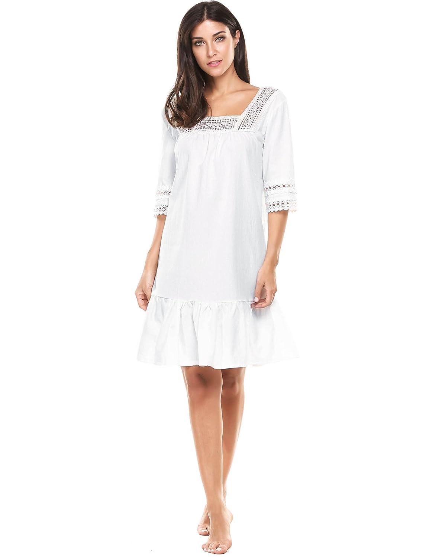 Ekouaer Womens Cotton Victorian Vintage Half Sleeve Martha Nightgown Sleepwear